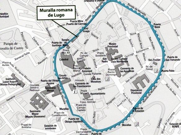 3-Mapa de la localización de la Muralla romana de Lugo-metirta.online