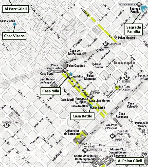 36-Mapa de situación de las obras de Gaudi en Barcelona-metirta.online