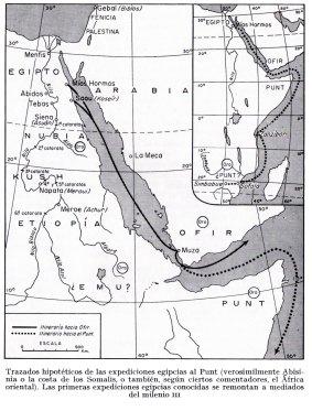 1-Trazados de las expediciones egipcias al Punt (Abisinia o la costa de los Somalis o el África oriental) Las 1º expediciones egipcias se remontan a mediados del milenio III