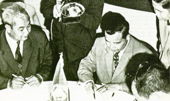 11-Los príncipes Bun Um, Souvanna Phouma y Souphanouvong firman la creación de un Gobierno Nacional en Laos (Zurich 1961)