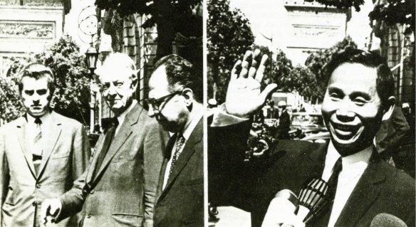 17-Los jefes de la delegación norteamericana, David Bruce, y norvietnamita, Nguyen Nian Vy, en la Conferencia de Paz de París, 1970