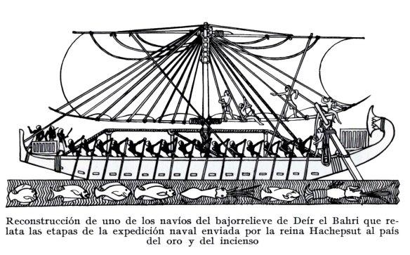 2-Reconstrucción de un navío del bajorrelieve de Deír el Bahri. Relata las etapas de la expedición naval enviada por la reina Hachepsut al país del oro y del incienso