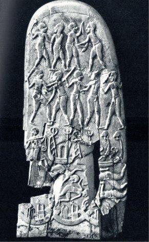 3-Contactos entre Sumerios y Egipcios. Sobre el mango del cuchillo (2º cara) de Djebel-el-Arak, la batalla y captura de prisioneros se hace sobre una flota de naves sumerias