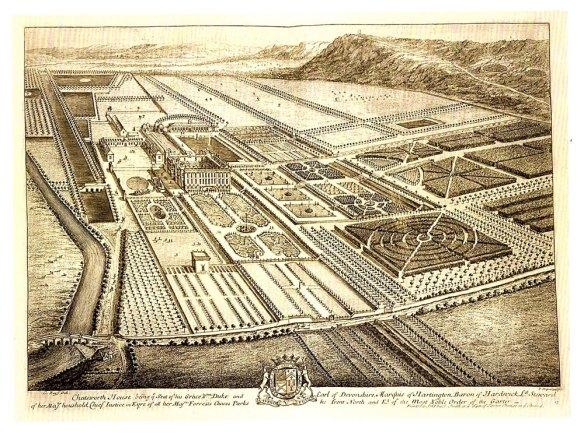 2-Chatsworth House 1699 Leonard Knyff y Johannes Kip.metirta.omline